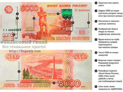 5000 рублей, защитные свойства купюры