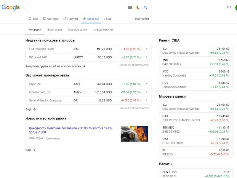 Полезные сайты для инвесторов - google finance